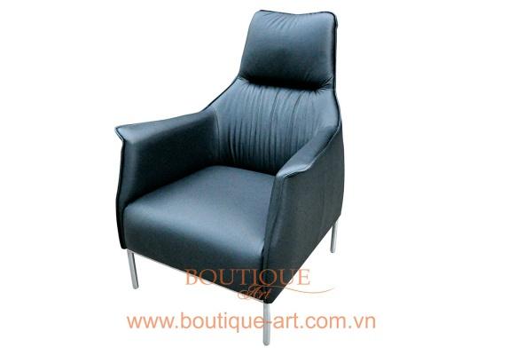 Sofa đơn lưng cao bọc PE đen tay bành - B.A 1676